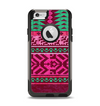 The Glowing Green & Pink Ethnic Aztec Pattern Apple iPhone 6 Otterbox Commuter Case Skin Set