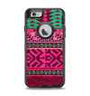 The Glowing Green & Pink Ethnic Aztec Pattern Apple iPhone 6 Otterbox Defender Case Skin Set
