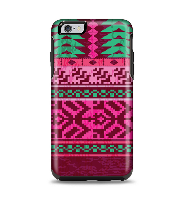 The Glowing Green & Pink Ethnic Aztec Pattern Apple iPhone 6 Plus Otterbox Symmetry Case Skin Set