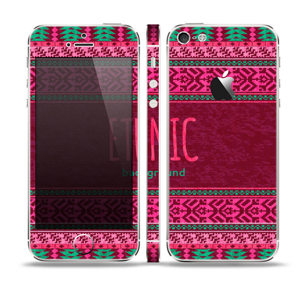 The Glowing Green & Pink Ethnic Aztec Pattern Skin Set for the Apple iPhone 5