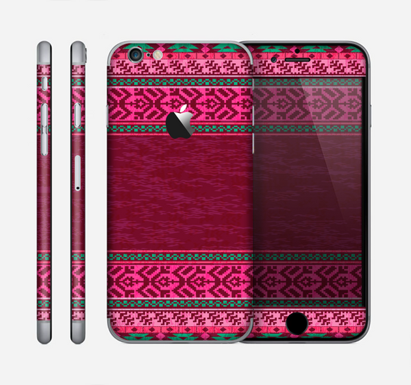 The Glowing Green & Pink Ethnic Aztec Pattern Skin for the Apple iPhone 6