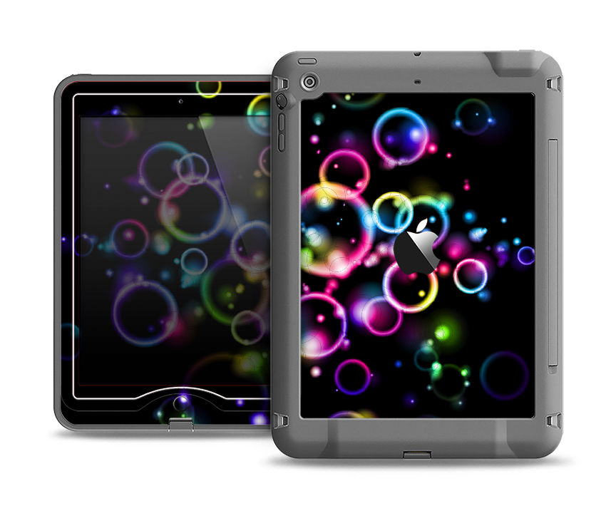 The Glowing Neon Bubbles Apple iPad Air LifeProof Nuud Case Skin Set
