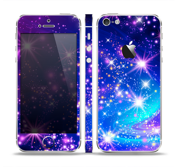The Glowing Pink & Blue Starry Orbit Skin Set for the Apple iPhone 5