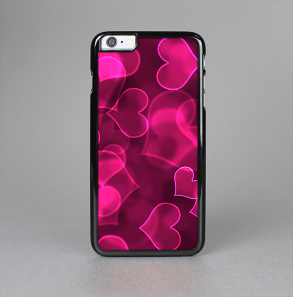 The Glowing Pink Outlined Hearts Skin-Sert Case for the Apple iPhone 6 Plus