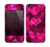 The Glowing Pink Outlined Hearts Skin for the Apple iPhone 4-4s