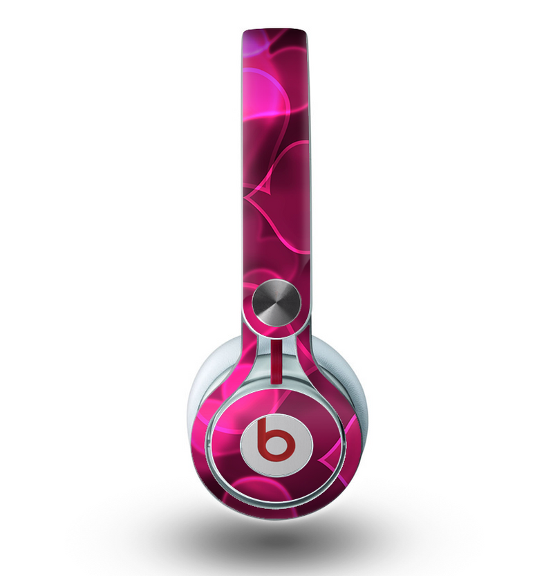 The Glowing Pink Outlined Hearts Skin for the Beats by Dre Mixr Headphones