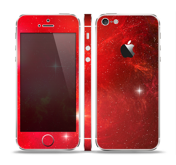 The Glowing Red Space Skin Set for the Apple iPhone 5