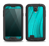 The Glowing Teal Abstract Waves Samsung Galaxy S4 LifeProof Nuud Case Skin Set
