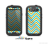 The Gold & Blue Sharp Chevron Pattern Skin For The Samsung Galaxy S3 LifeProof Case