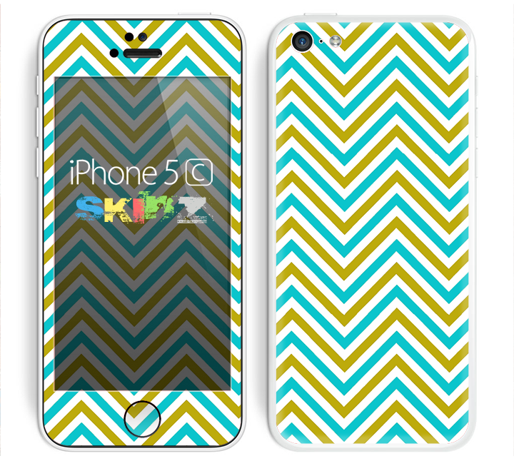 The Gold & Blue Sharp Chevron Pattern Skin for the Apple iPhone 5c