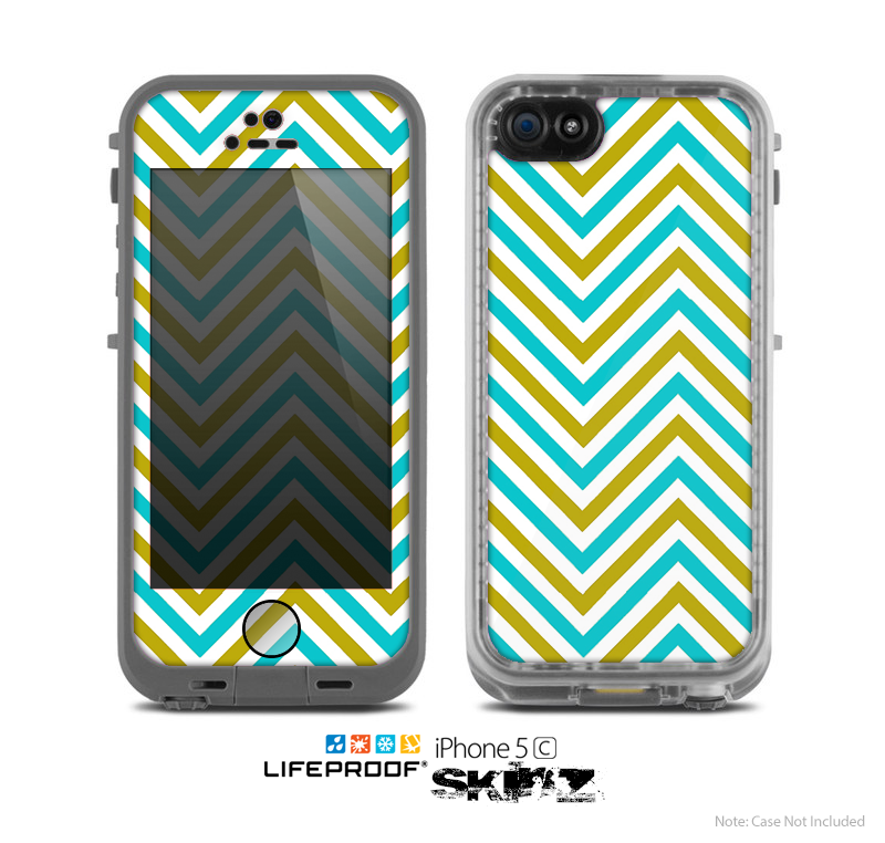 The Gold & Blue Sharp Chevron Pattern Skin for the Apple iPhone 5c LifeProof Case