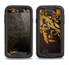 The Gold Floral Vector Pattern on Black Samsung Galaxy S4 LifeProof Nuud Case Skin Set