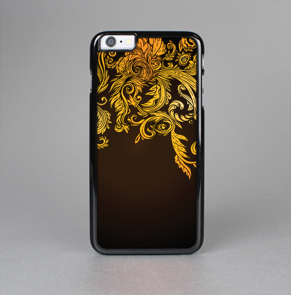 The Gold Floral Vector Pattern on Black Skin-Sert Case for the Apple iPhone 6 Plus