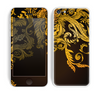 The Gold Floral Vector Pattern on Black Skin for the Apple iPhone 5c