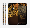 The Gold Floral Vector Pattern on Black Skin for the Apple iPhone 6
