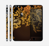 The Gold Floral Vector Pattern on Black Skin for the Apple iPhone 6 Plus