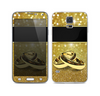 The Gold Glitter with Intertwined Rings Skin For the Samsung Galaxy S5