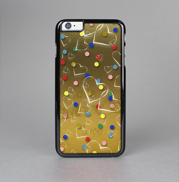 The Gold Hearts and Confetti Pattern Skin-Sert Case for the Apple iPhone 6 Plus