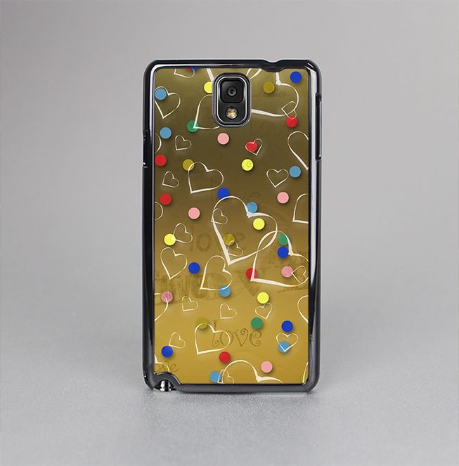 The Gold Hearts and Confetti Pattern Skin-Sert Case for the Samsung Galaxy Note 3