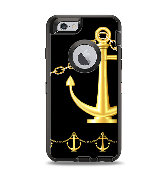 The Gold Linking Chain Anchor Apple iPhone 6 Otterbox Defender Case Skin Set