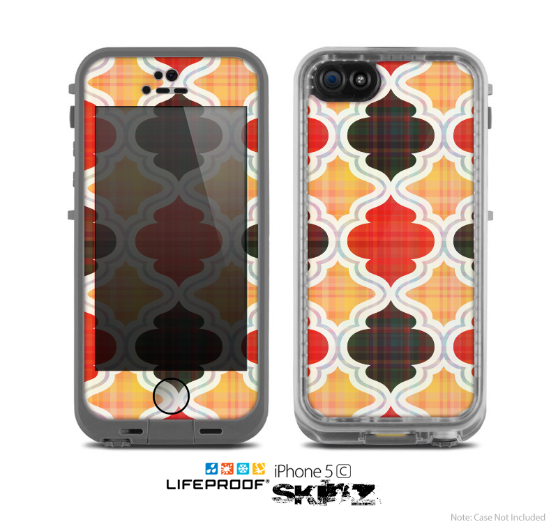 The Gold & Red Abstract Seamless Pattern V5 Skin for the Apple iPhone 5c LifeProof Case