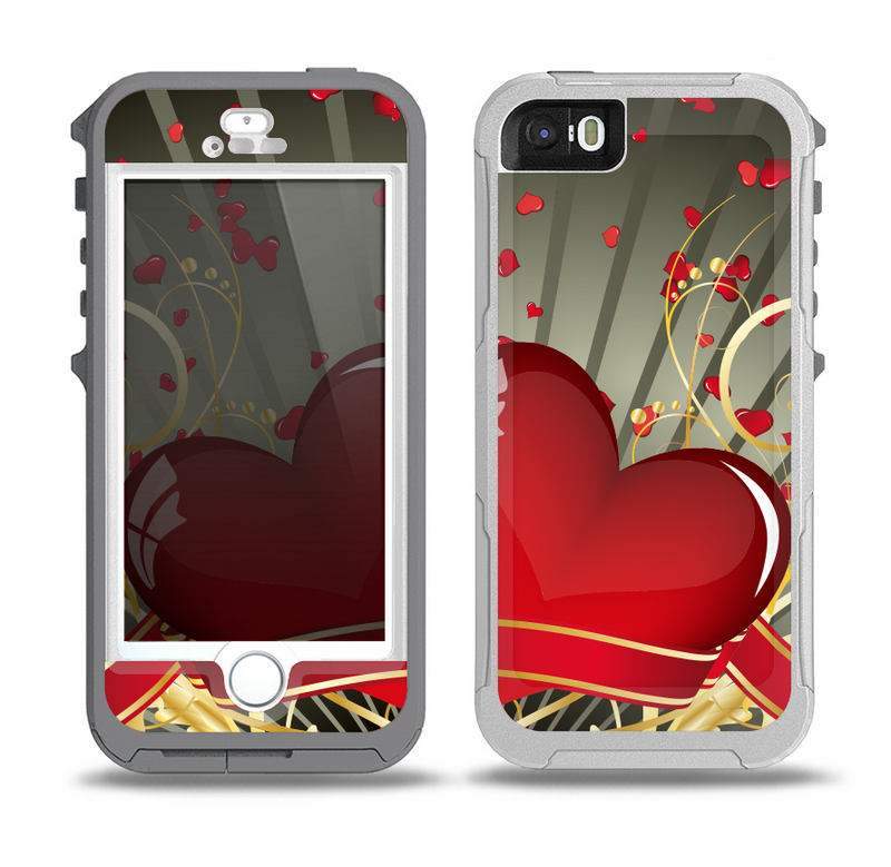 The Gold Ribbon Love Hearts Skin for the iPhone 5-5s OtterBox Preserver WaterProof Case