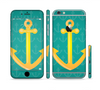 The Gold Stretched Anchor with Green Background Sectioned Skin Series for the Apple iPhone 6 Plus