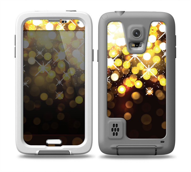 The Gold Unfocused Orbs of Light Skin for the Samsung Galaxy S5 frē LifeProof Case