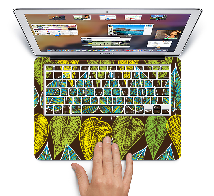 "The Gold & Yellow Seamless Leaves Illustration Skin Set for the Apple MacBook Pro 15"" with Retina Display"
