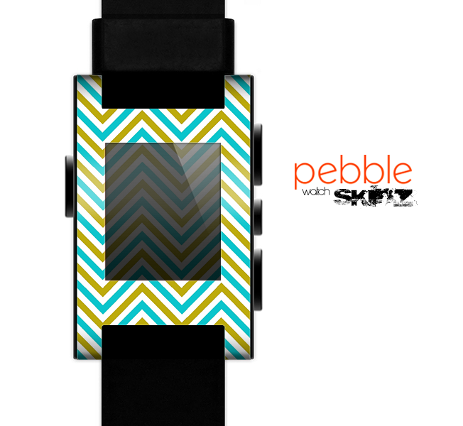 The Gold & Blue Sharp Chevron Pattern Skin for the Pebble SmartWatch