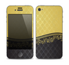 The Gold and Black Luxury Pattern Skin for the Apple iPhone 4-4s