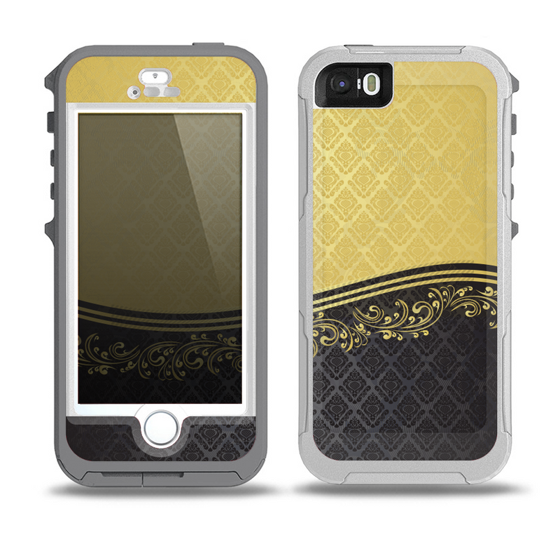 The Gold and Black Luxury Pattern Skin for the iPhone 5-5s OtterBox Preserver WaterProof Case