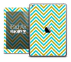 The Gold and Blue Sharp Chevron Pattern Skin for the iPad Air