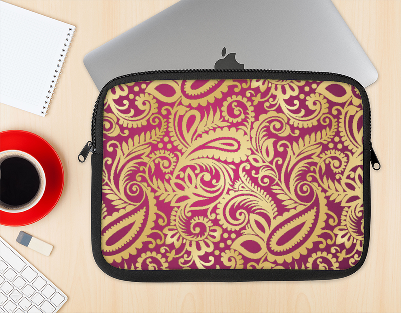 The Gold and Red Paisley Pattern Ink-Fuzed NeoPrene MacBook Laptop Sleeve