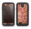 The Gold and Red Paisley Pattern Samsung Galaxy S4 LifeProof Nuud Case Skin Set