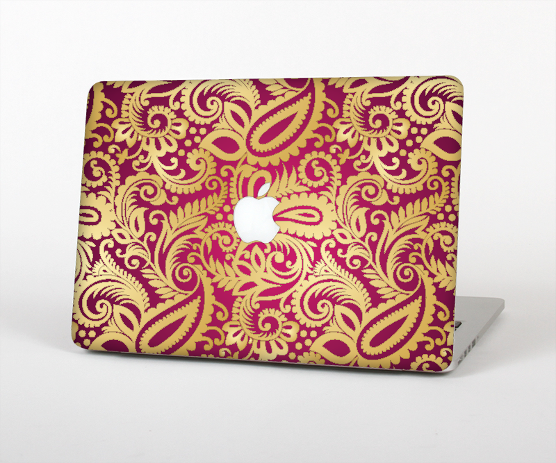 "The Gold and Red Paisley Pattern Skin Set for the Apple MacBook Pro 15"" with Retina Display"