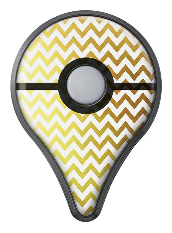 The Gold and White Chevron Pattern Pokémon GO Plus Vinyl Protective Decal Skin Kit