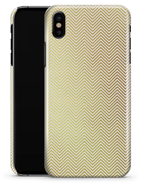 The Gold and White Micro Chevron Pattern - iPhone X Clipit Case