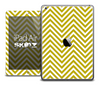 The Gold and White Sharp Chevron Pattern Skin for the iPad Air