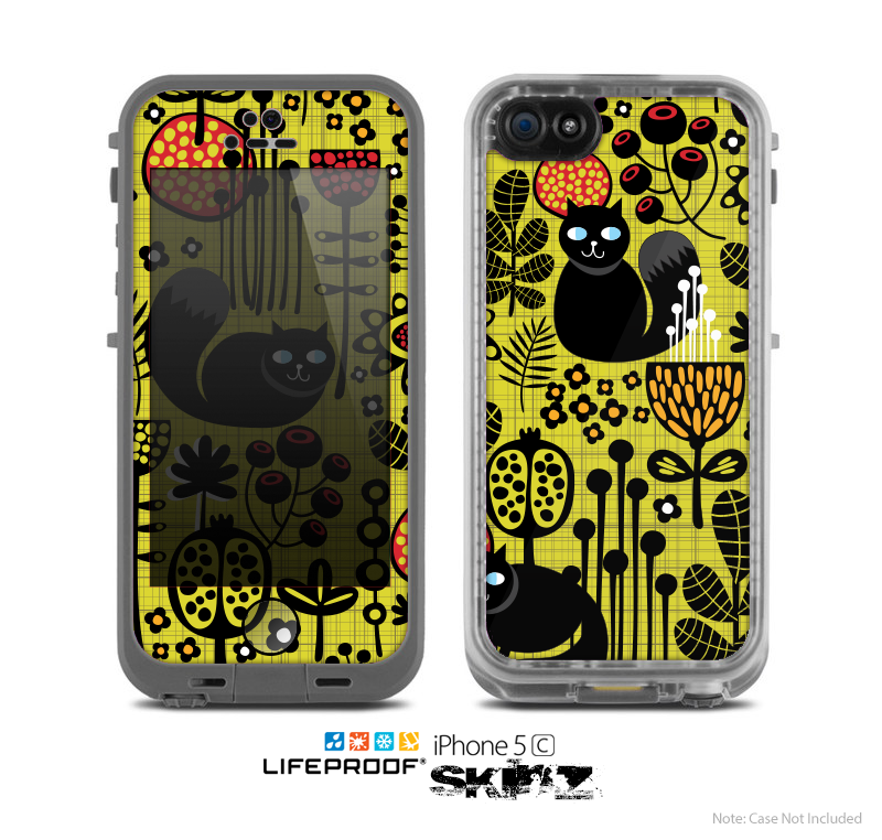 The Gold vector Fat Cat Illustration Skin for the Apple iPhone 5c LifeProof Case
