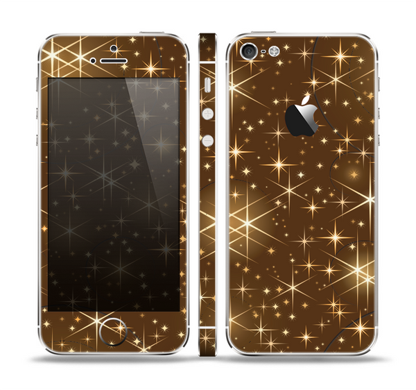 The Golden Glowing Stars Skin Set for the Apple iPhone 5
