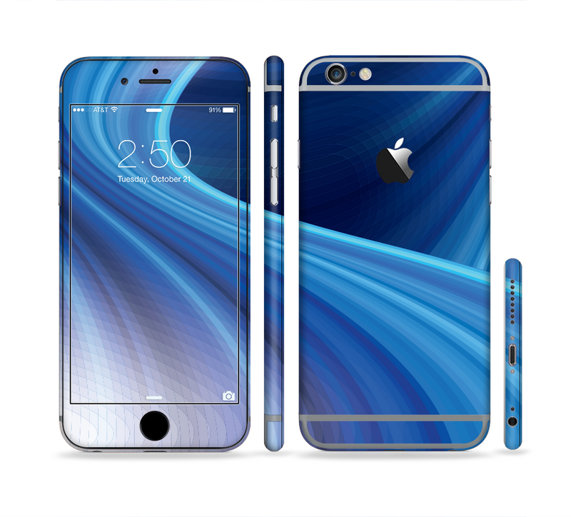 The Gradient Waves of Blue Sectioned Skin Series for the Apple iPhone 6s