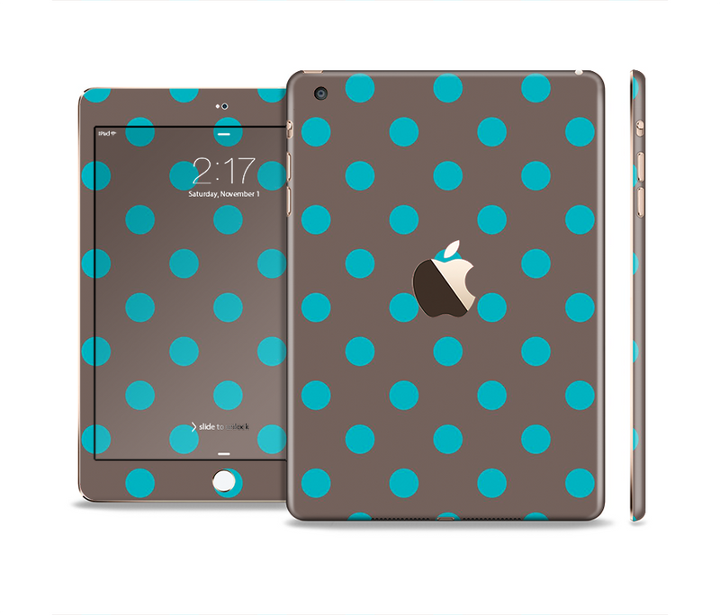 The Gray & Blue Polka Dot Full Body Skin Set for the Apple iPad Mini 3