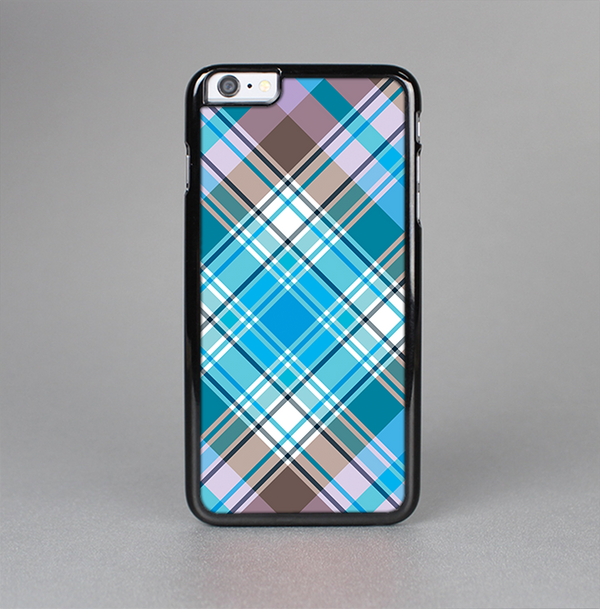 The Gray & Bright Blue Plaid Layered Pattern V5 Skin-Sert Case for the Apple iPhone 6 Plus