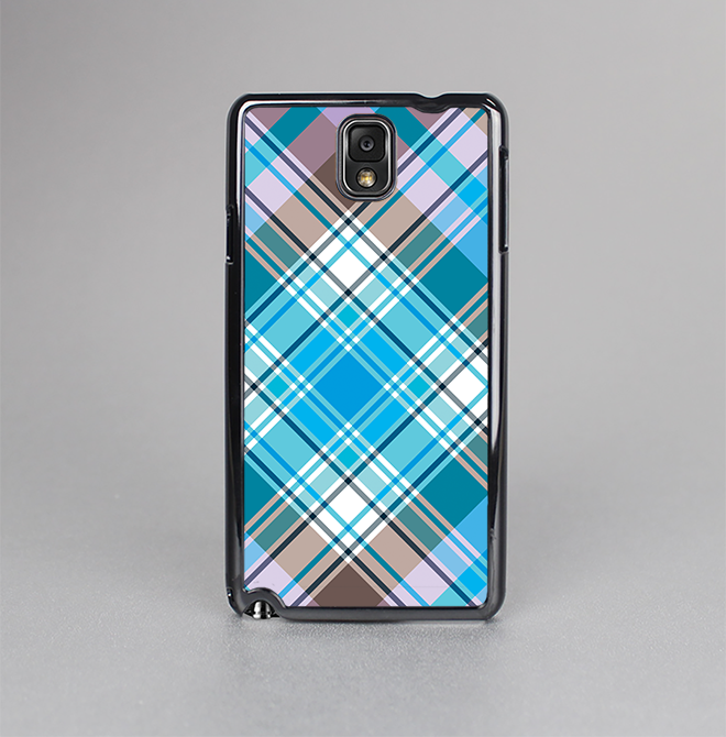 The Gray & Bright Blue Plaid Layered Pattern V5 Skin-Sert Case for the Samsung Galaxy Note 3