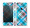 The Gray & Bright Blue Plaid Layered Pattern V5 Skin Set for the Apple iPhone 5