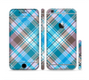 The Gray & Bright Blue Plaid Layered Pattern V5 Sectioned Skin Series for the Apple iPhone 6s Plus