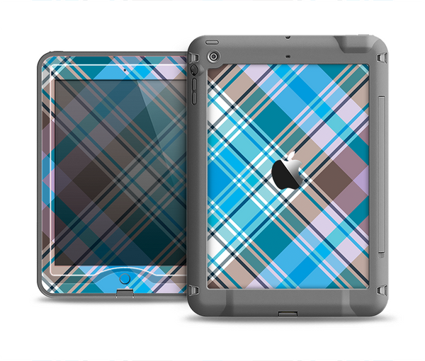 The Gray & Bright Blue Plaid Layered Pattern V5 Apple iPad Air LifeProof Nuud Case Skin Set