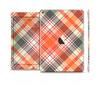 The Gray & Bright Orange Plaid Layered Pattern V5 Skin Set for the Apple iPad Pro