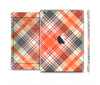 The Gray & Bright Orange Plaid Layered Pattern V5 Skin Set for the Apple iPad Mini 4